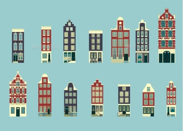 Set in a Typical Holland Buildings - Buildings Objects