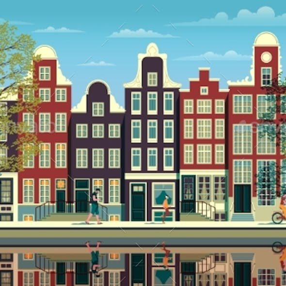Street in Amsterdam with Traditional Buildings