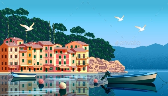 Mediterranean Landscape with Boats and Fishing - Buildings Objects