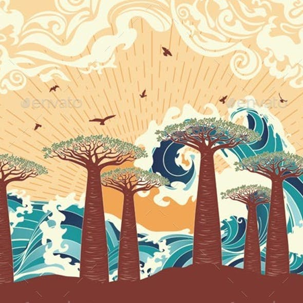 Sunset Sea and Trees
