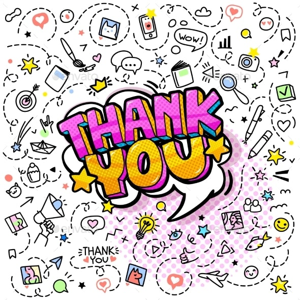 Thank You. Doodle Background with Hand Drawn Icons - Backgrounds Decorative