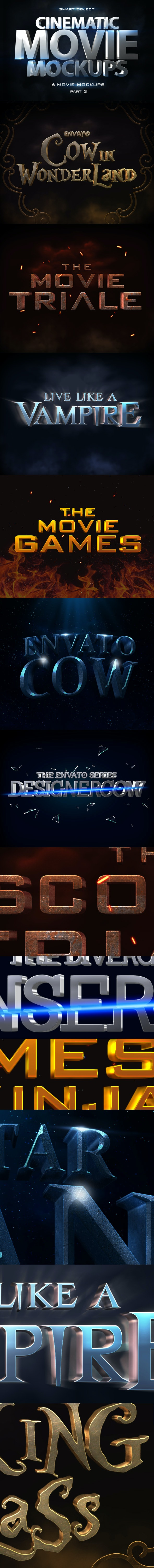 Cinematic 3D Movie Mockups V3 - Text Effects Styles