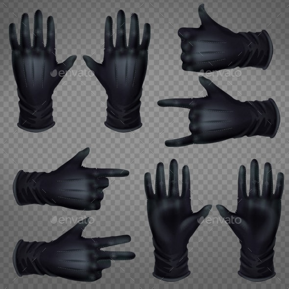 Hand in Gloves Shoving Gestures Realistic Vector - Man-made Objects Objects