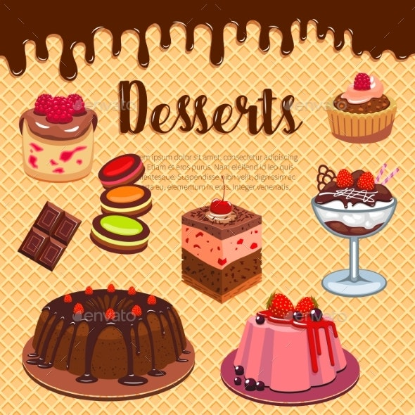 Bakery Shop Pastry Desserts Vector Wafer Poster - Food Objects