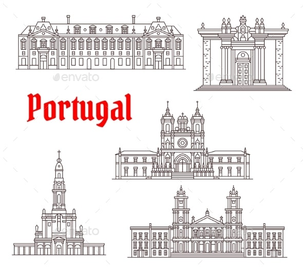 Portugal Architecture Famous Landmark Vector Icons - Travel Conceptual