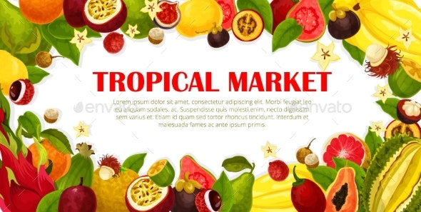 Vector Poster of Exotic Fruits for Tropical Market - Food Objects