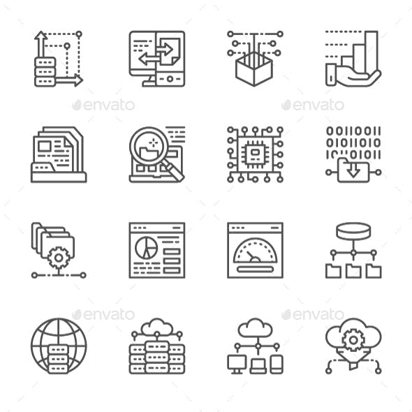 Set Of Data Analysis And Cloud Computing Line Icons. Pack Of 64x64 Pixel Icons