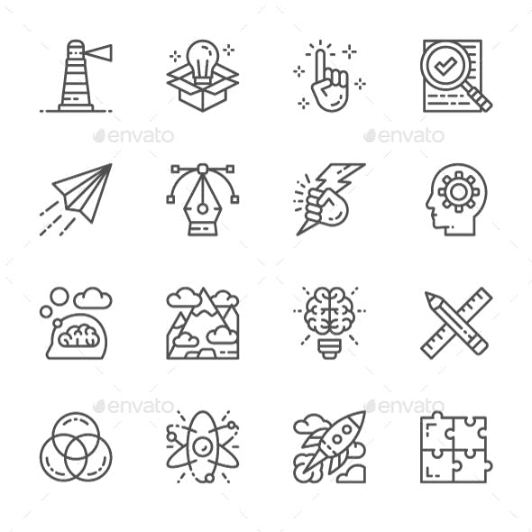 Set Of Creative And Inspiration Line Icons. Pack Of 64x64 Pixel Icons