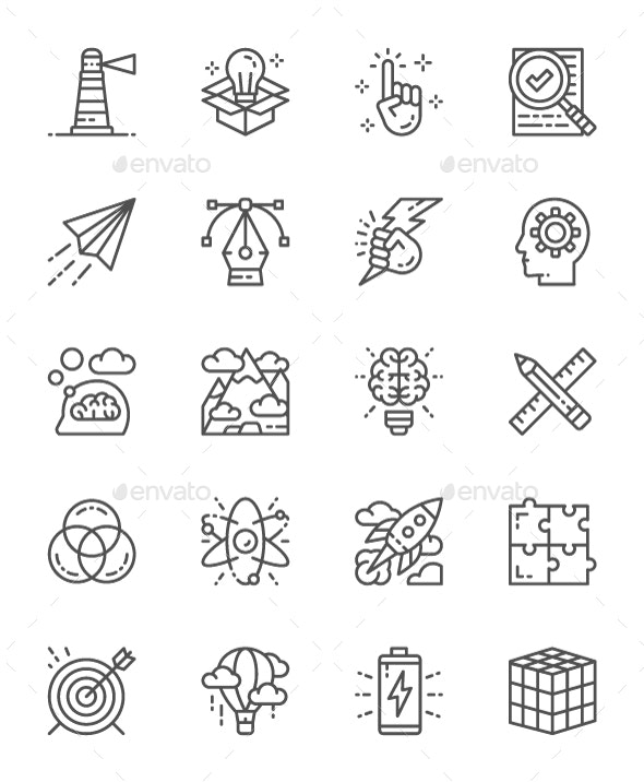 Set Of Creative And Inspiration Line Icons. Pack Of 64x64 Pixel Icons - Abstract Icons