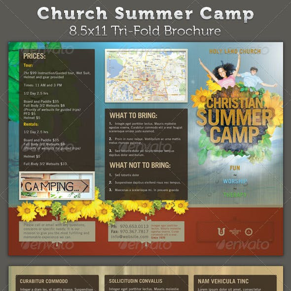 Church Summer Camp 8.5x11 Brochure Template