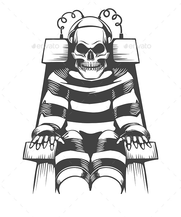 Human Skeleton Wear in Prison Suit on Electric Chair - Miscellaneous Characters