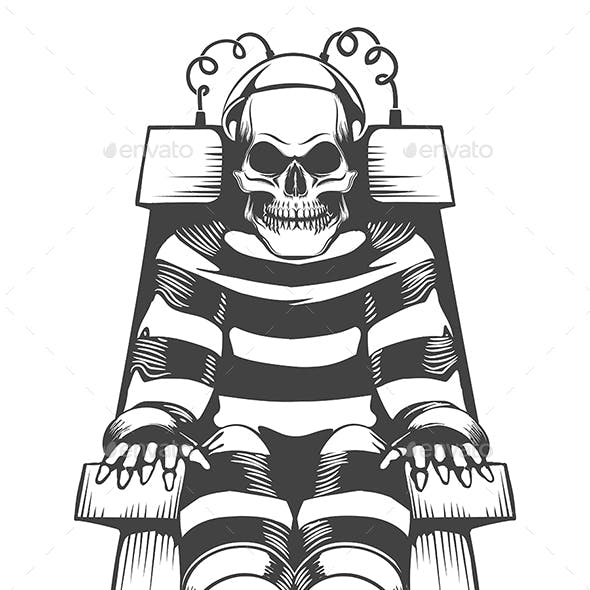 Human Skeleton Wear in Prison Suit on Electric Chair