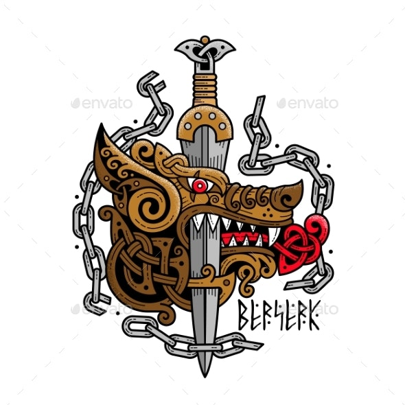 Logo of a Wolf - Berserk with a Sword - Animals Characters