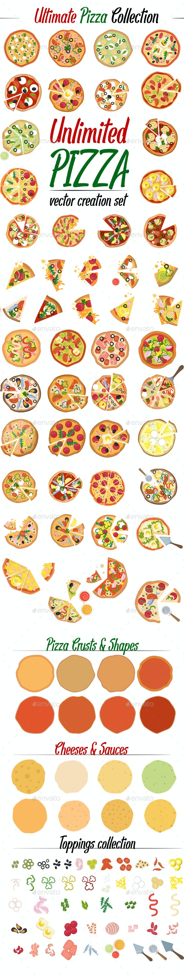Pizza Collection Set Create Your Own - Food Objects