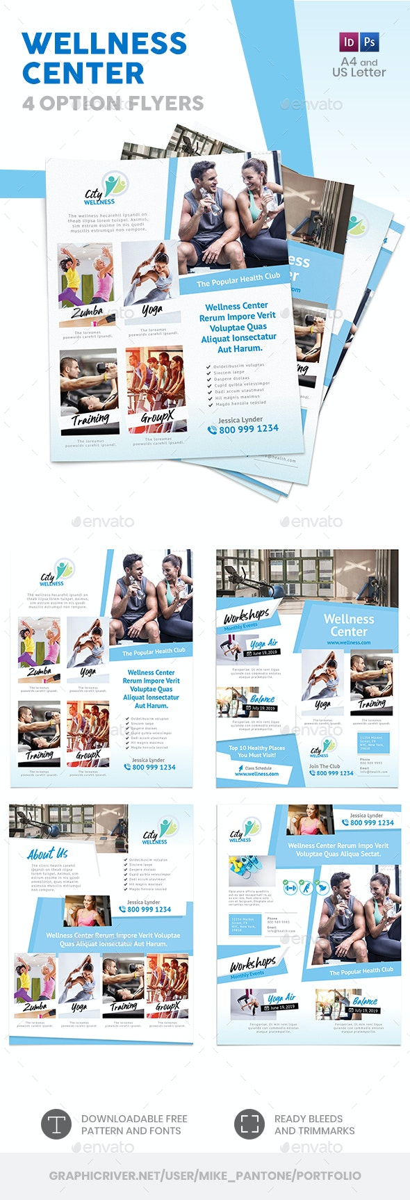 Wellness Center Flyers 2 – 4 Options - Corporate Flyers