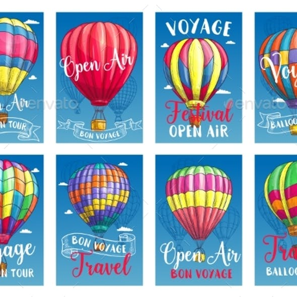 Vector Posters for Hot Air Balloon Tour or Show