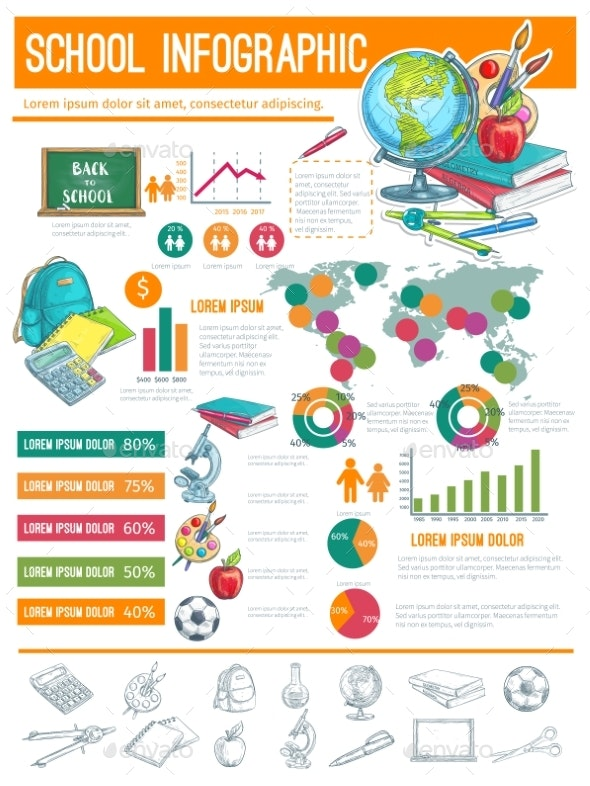 Back To School Infographic Banner Background By Vectortradition Graphicriver