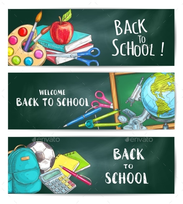 Back To School Welcome Banner Backgrounds - Miscellaneous Conceptual