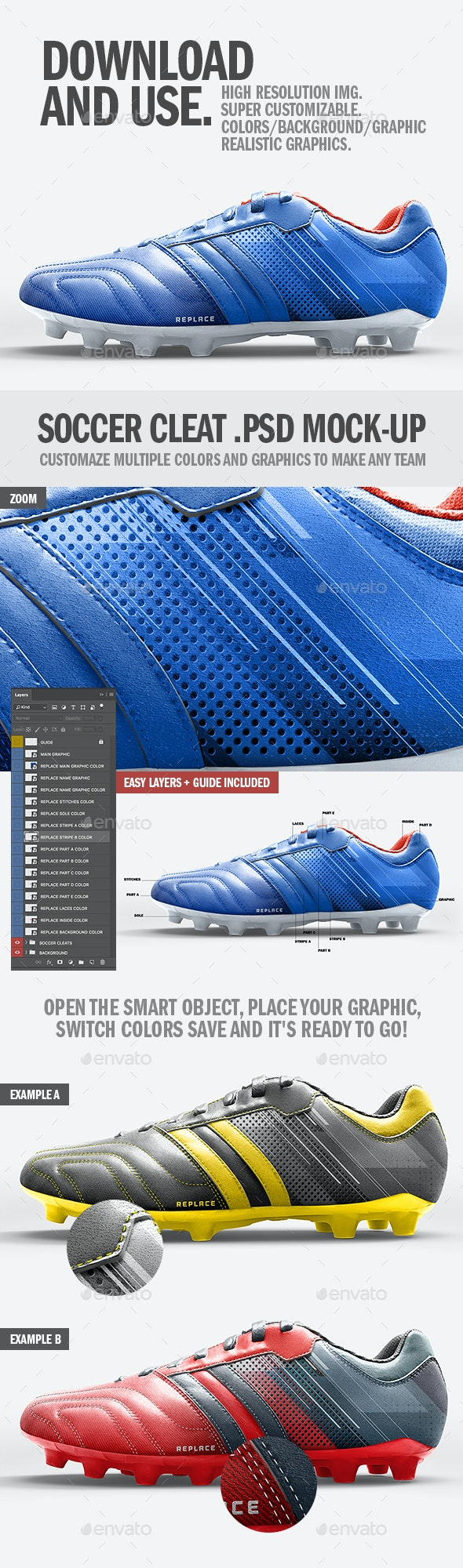 Soccer Cleat Realistic Mockup - Graphics