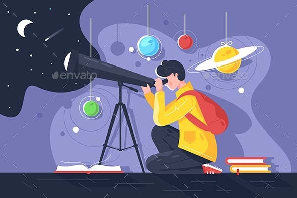 Flat Young Man with Book and Telescope Studying - Miscellaneous Vectors
