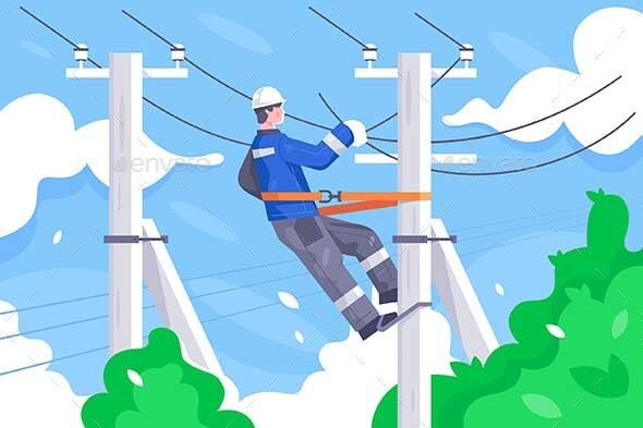 Flat Young Man Employee with Power Lines Repair - Industries Business