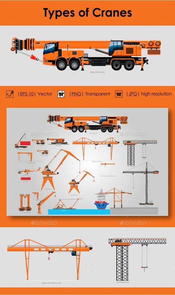 Types of Cranes - Man-made Objects Objects
