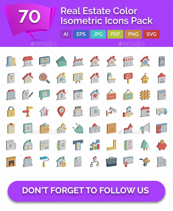 70 Real Estate Color isometric Vector icons Pack - Icons