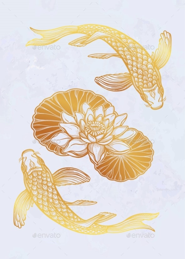 Ethnic Fish Koi Carp with Water Lotus Flowers - Animals Characters