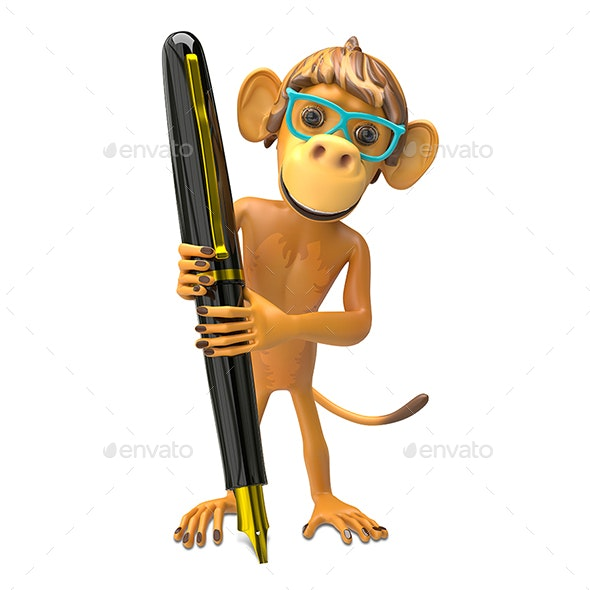 3D Illustration of a Monkey Wearing Glasses with a Pen - Characters 3D Renders