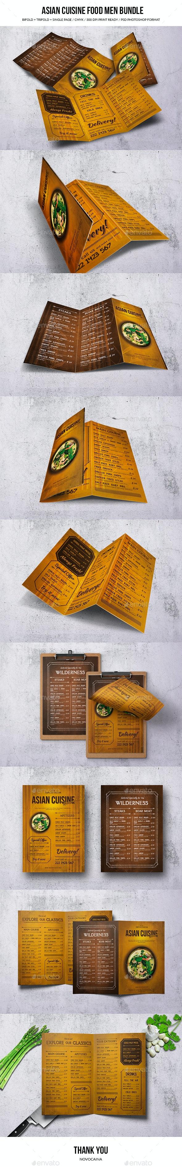 Asian Cuisine Food Menu Bundle - Food Menus Print Templates