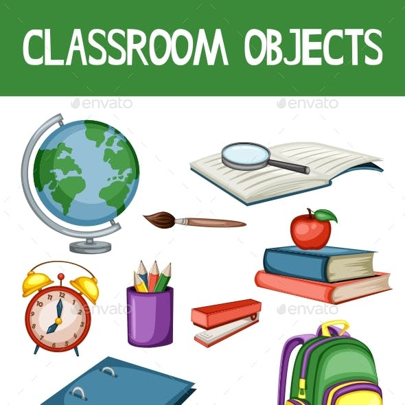 Cartoon School Equipments