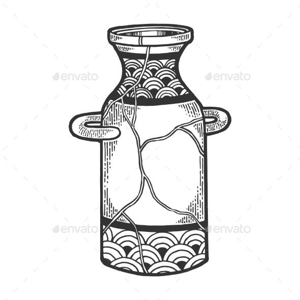 Repaired Japan Vase Kintsugi Art Sketch Engraving - Miscellaneous Vectors