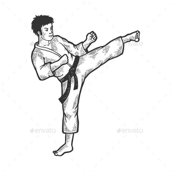 Karate Strikes Foot Up Sketch Engraving Vector - Sports/Activity Conceptual
