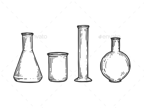 Chemical Laboratory Flasks Sketch Engraving Vector - Man-made Objects Objects