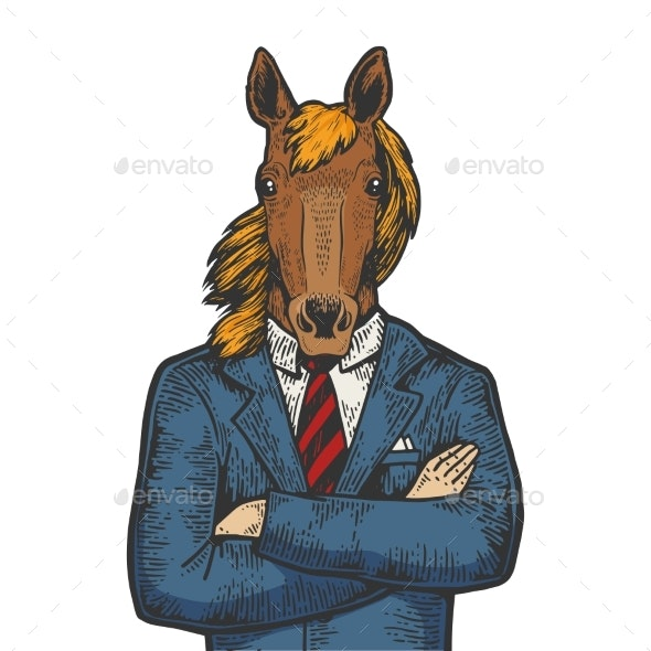 Horse Businessman Color Sketch Engraving Vector - Miscellaneous Characters