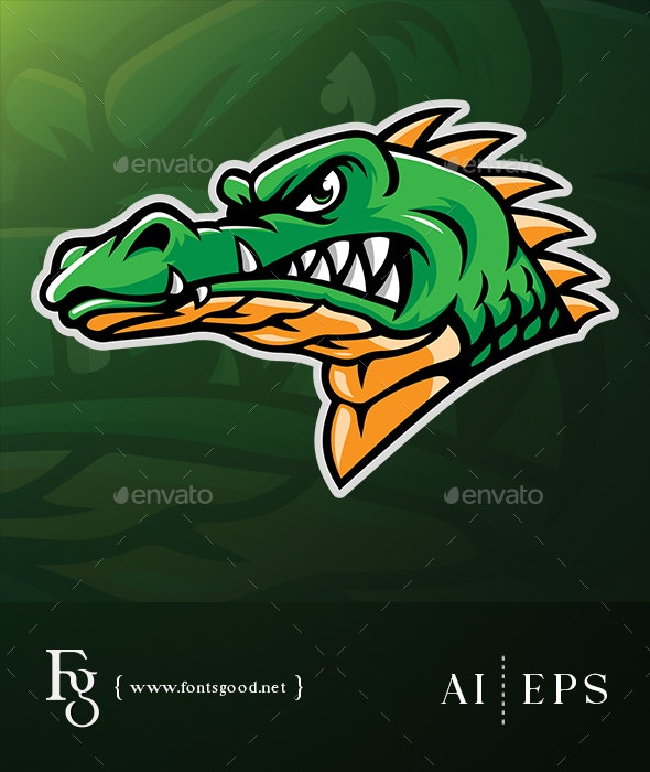Alligator Head Mascot Vector - Animals Characters