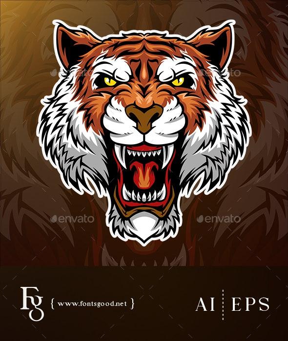 Tiger Head Mascot Vector - Animals Characters