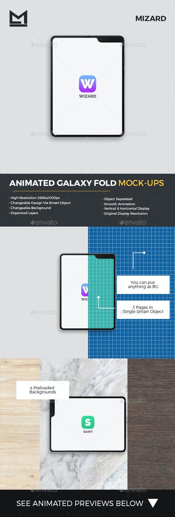 Animated Fold Galaxy Mockup - Mobile Displays