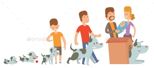 Boy and Dog Friends Kife Stages Vector - People Characters