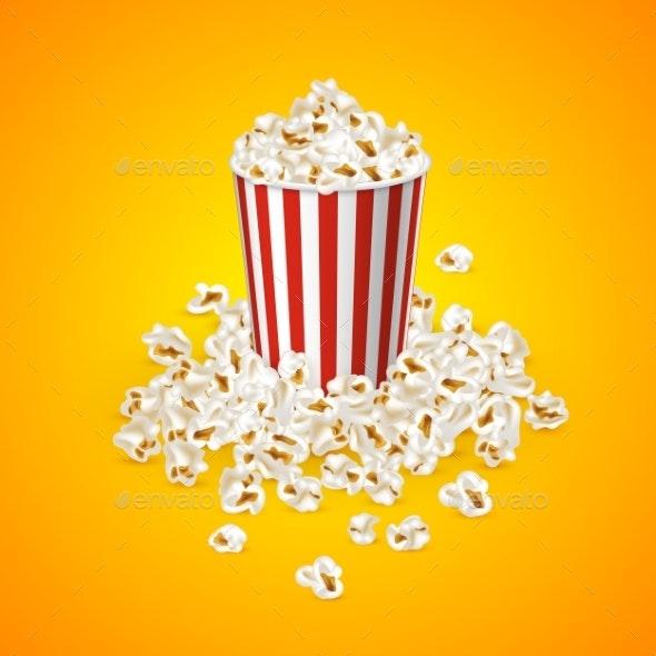 Full Popcorn Striped Bucket - Food Objects