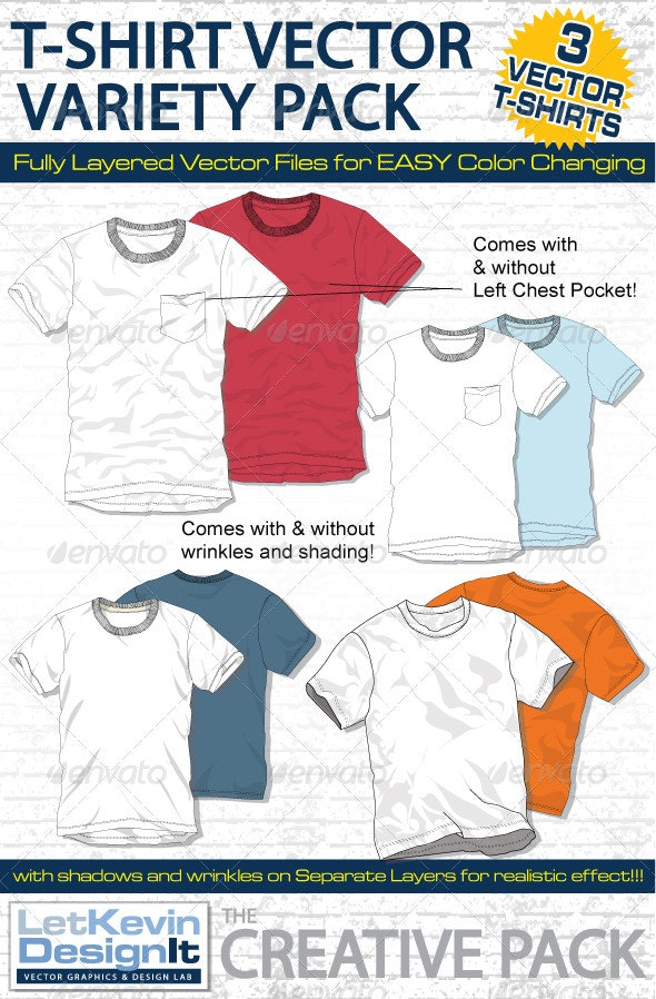 Mens T-Shirt Vector Mock-Ups - Fashion Design - Retail Commercial / Shopping
