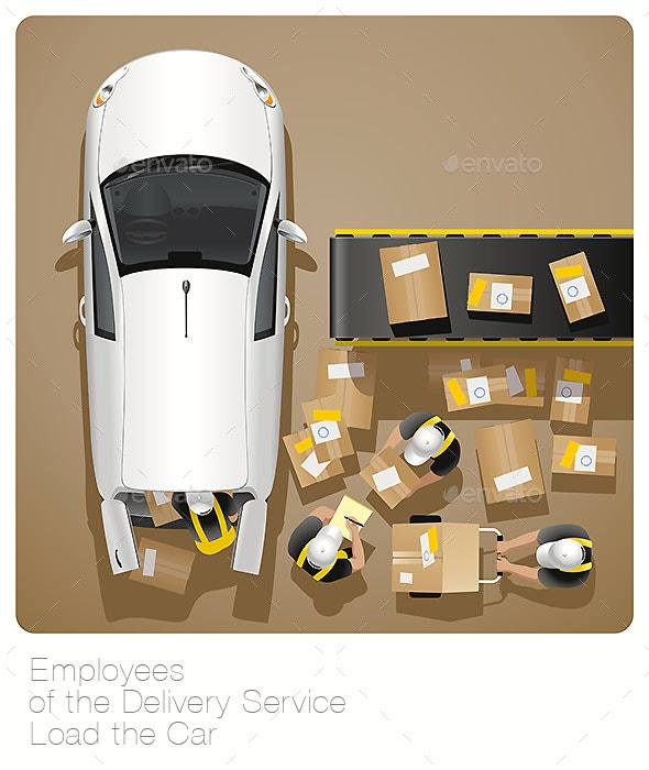 Employees of the Delivery Service Load the Car - Services Commercial / Shopping