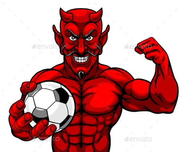 Devil Soccer Football Sports Mascot Holding Ball - Sports/Activity Conceptual