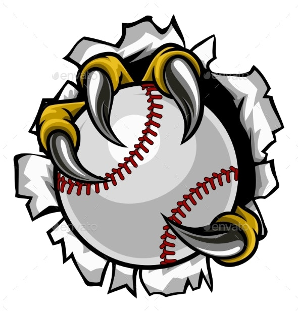 Baseball Ball Eagle Claw Talons Ripping Background - Sports/Activity Conceptual