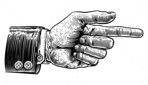 Hand Pointing Finger Direction In Business Suit - Miscellaneous Vectors