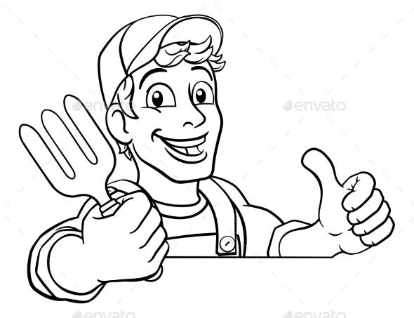 Gardener Garden Fork Tool Handyman Cartoon - People Characters