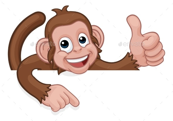 Monkey Cartoon Animal Pointing Thumbs Up Sign - Animals Characters