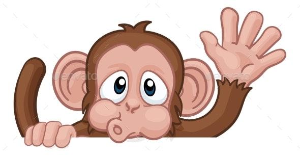 Monkey Cartoon Animal Behind Sign Waving - Animals Characters