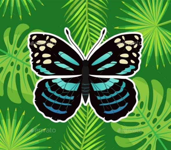 Butterfly with Palm Leaves and Branches - Animals Characters