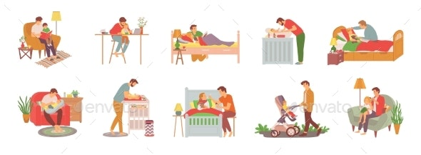 Daddy Caring for Children - People Characters